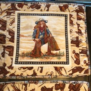Set of 6 cowgirl western quilted placemats